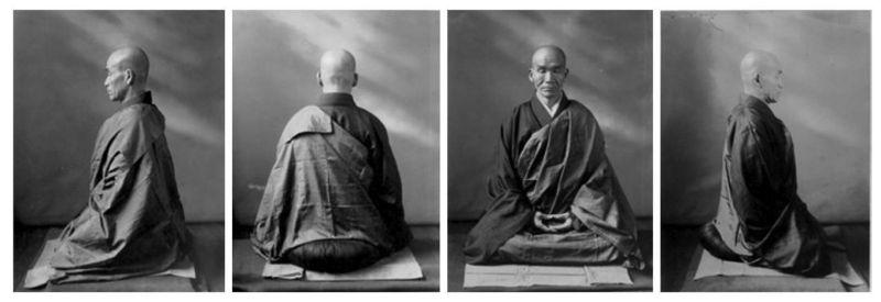 Fotografía del maestro zen Kodo Sawaki como modelo de buena postura de meditación.