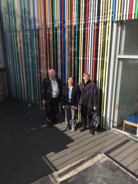 Goery Delacôte, Sherry Hsi, and Chad Dorsey at the entrance of Exploradome in Vitry-sur-Seine south east of Paris. Colors from the building were selected from colors found around the local neighborhood.