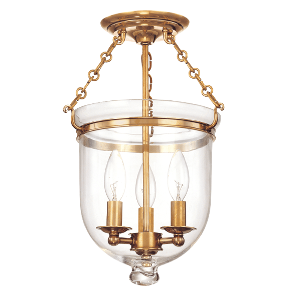 251-AGB-C1_Hudson Valley Hampton 3-Light Semi-Flush Mount Ceiling Fixture in Clear Glass with Aged Brass Accents