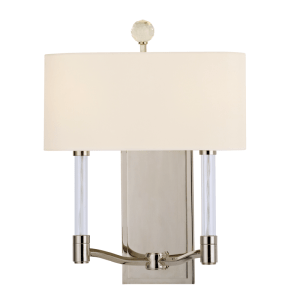 3002-PN_Hudson Valley Waterloo 2-Light Crystal and Acrylic Wall Sconce in a Polished Nickel Finish
