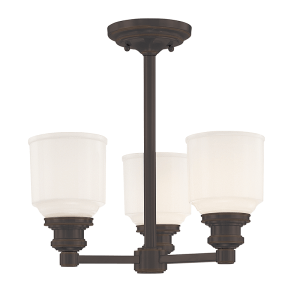 3413-OB_Hudson Valley Windham 3-Light Semi-Flush Ceiling Mount Fixture with Opal Glass Shades and an Old Bronze Finish