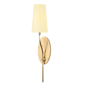 3711-AGB_Hudson Valley Rutland Single Light Wall Sconce in an Aged Brass Finish with a Cream Paper Shade