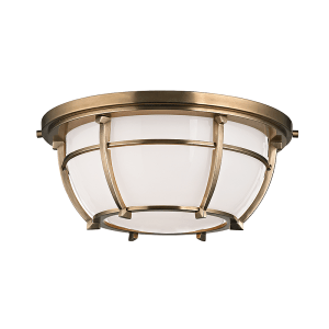 4112-AGB_Hudson Valley Conrad 2-Light Flush Mount Ceiling Fixture in an Aged Brass Finish
