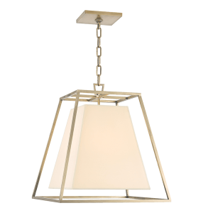 6917-AGB_Hudson Valley Kyle Chandelier and Pendant with an Aged Brass Cage and an Eco Paper Shade