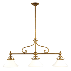 7822-AGB_Hudson Valley Orchard 3-Light Linear Pendant in Aged Brass with Opal Glass Shades