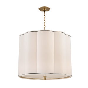 7925-AB_Hudson Valley Sweeny 5-Light Drum Chandelier and Pendant in an Aged Brass Finish