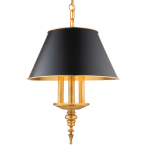 9521-AGB_Hudson Valley Cheshire 3-Light Pendant in an Aged Brass Finish with a Black Metal Lampshade