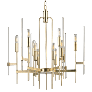 9912-AGB_Hudson Valley Bari 12-Light Chandelier in an Aged Brass Finish