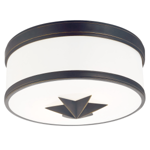 1112-OB_Hudson Valley Seneca 2-Light Flush Mount Ceiling Fixture in Opal Glass with Old Bronze Accents