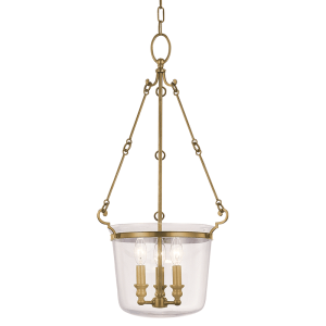 131-AGB_Hudson Valley Quinton 3-Light Lantern and Pendant in an Aged Brass Finish