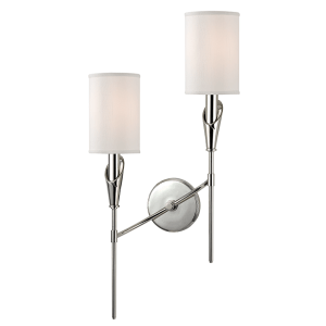 1312L-PN_Hudson Valley Tate 2-Light Wall Sconce in a Polished Nickel Finish