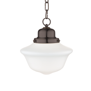 1609-OB_Hudson Valley Edison Single Light Pendant in Opal Glass with Old Bronze Accents