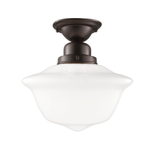 1612F-OB_Hudson Valley Edison Single Light Flush Mount Ceiling Fixture with Old Bronze Accents