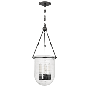 213-OB_Hudson Valley Willet 3-Light Pendant with a Blown Glass Bell Jar Shade and Old Bronze Accents
