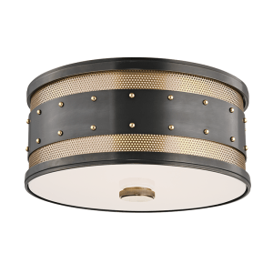 2202-AOB_Hudson Valley Gaines 2-Light Flush Mount Ceiling Fixture in an Old Bronze Finish with Aged Brass Accents