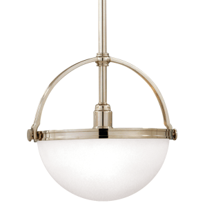 3311-PN_Hudson Valley Stratford Single Light Pendant in Opal Glass with Polished Nickel Accents