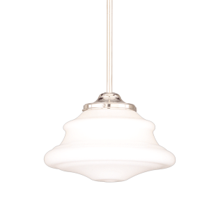 3409-PN_Hudson Valley Petersburg Single Light Pendant with an Opal Glass and Polished Nickel Accents