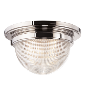 4418-PN_Hudson Valley Winfield 3-Light Flush Mount Fixture in Textured Glass and Polished Nickel
