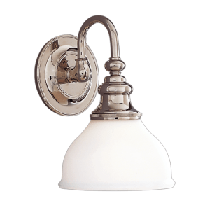 5901-PN_Hudson Valley Sutton Single Light Bath Sconce with an Opal Shade and Polished Nickel Accents