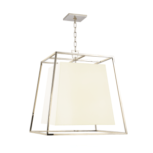 6924-PN-WS_Hudson Valley Kyle Chandelier and Pendant with a Polished Nickel Cage and a White Silk Shade