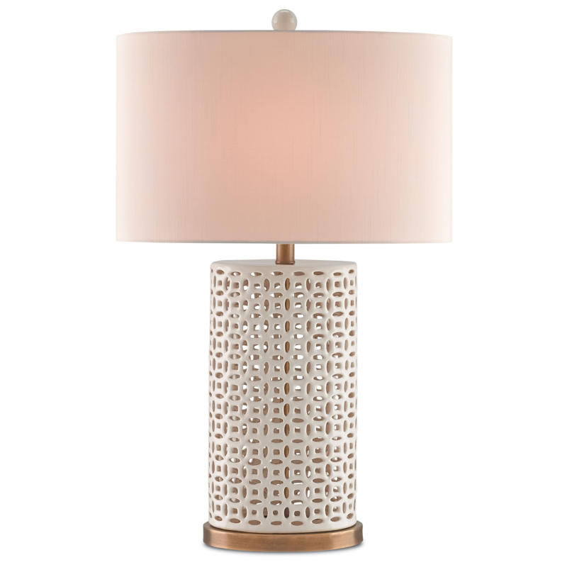 Currey Bellemeade Pierced Ivory Ceramic, Ivory Ceramic Table Lamps