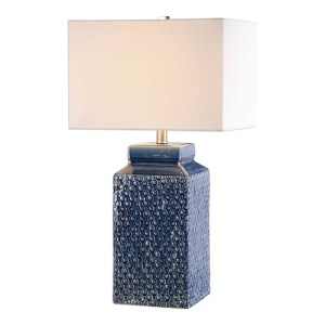 Uttermost Pero Ceramic Table Lamp in a Sapphire Blue Glaze 27229-1