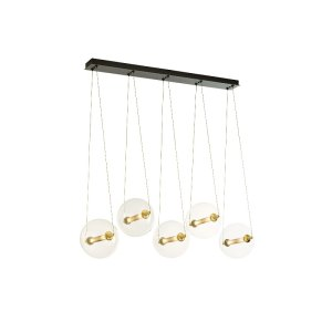 134409-31-YT517_Hubbardton Forge Otto Five Light Pendant with Glass Spheres