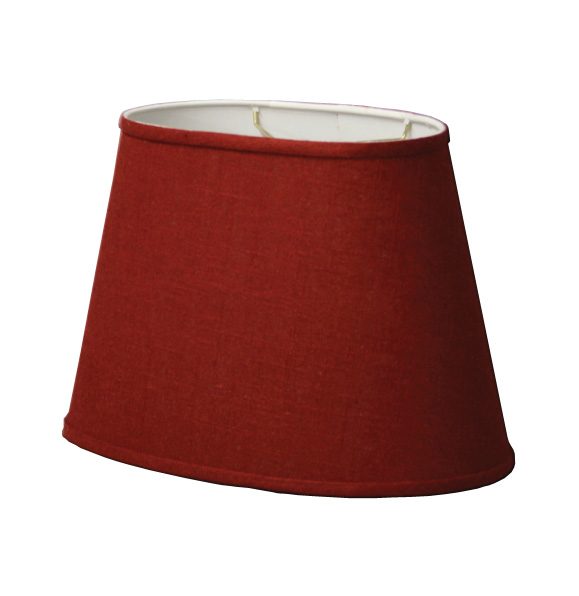 Oval Hardback Lampshade in Red Linen