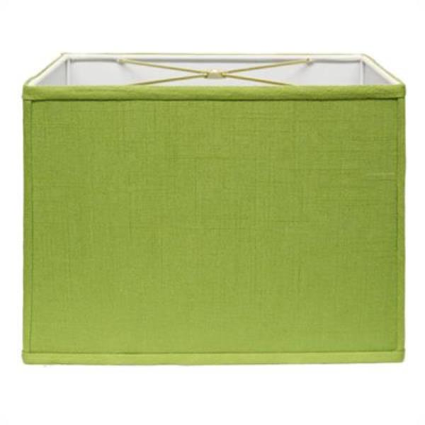 Retro Rectangle Hardback Lampshade in Apple Green Linen