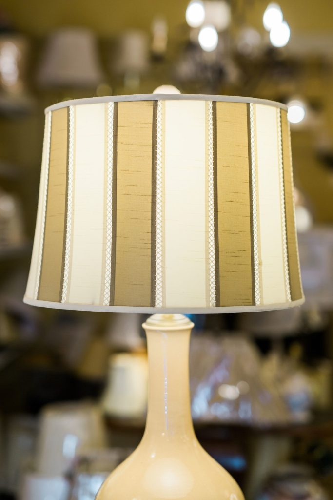 Vertical Cream and Beige Lampshade