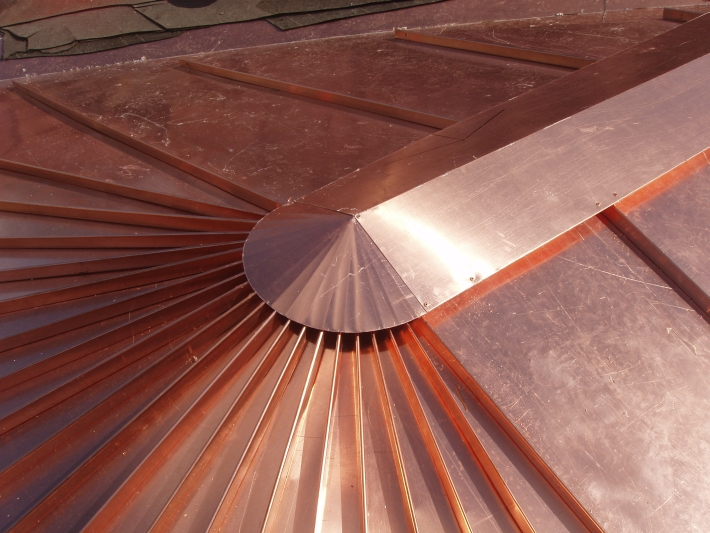 Copper Tapered Panel Roof And Cap Concord Sheet Metal