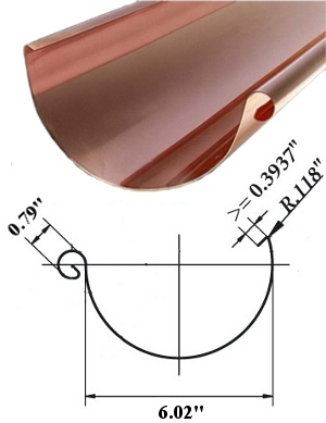 6 Quot Half Round Copper Gutters Concord Sheet Metal
