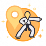 Martial Artist and location marker icon