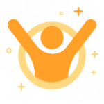 Orange confident hero pose icon