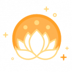 White lotus in orange circle icon