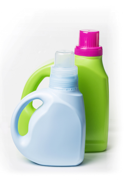 Plastic detergent container on white background
