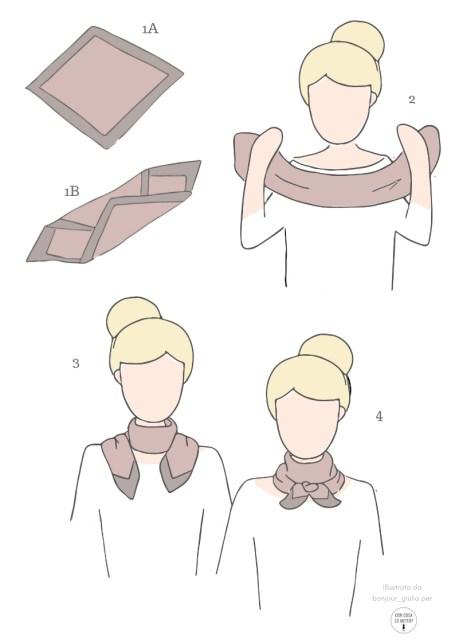 Come indossare il foulard: 5 idee facili e chic - istruzioni per annodarlo al collo