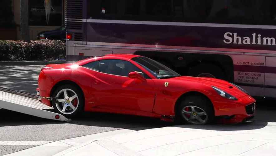 ferrari california vs hollywood tour bus