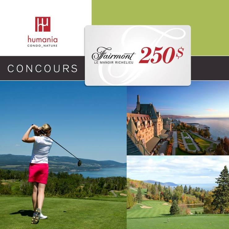 Concours - Gagner une CARTE-CADEAU de 250 $ échangeable au Fairmont Le Manoir Richelieu!