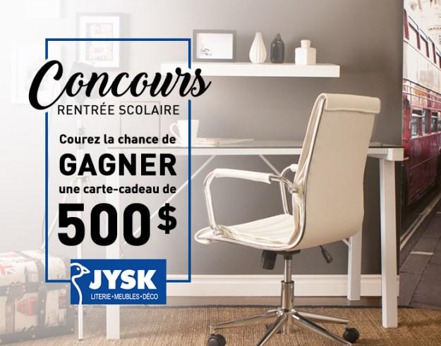Concours – Gagner une carte-cadeau JYSK d'une valeur de 500$