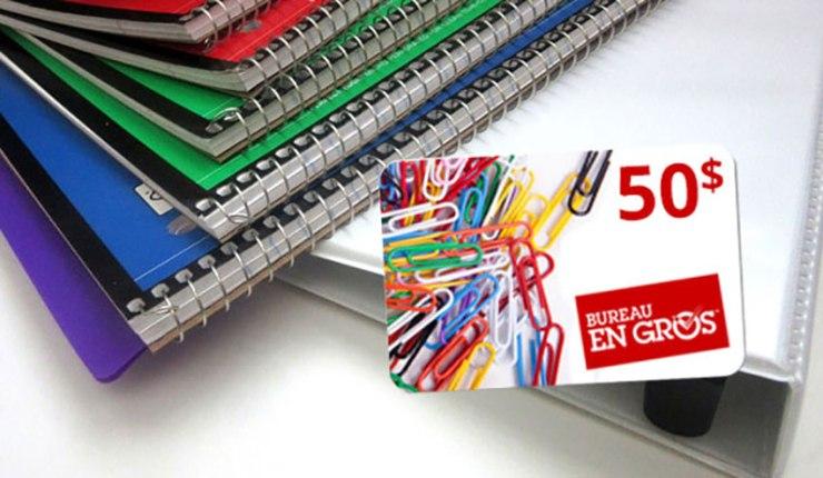 Concours – Gagnez une carte cadeau de 50$ Bureau En Gros pour la rentrée scolaire