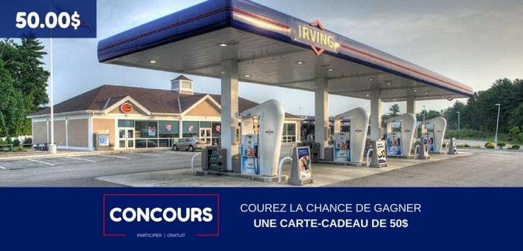 Concours La Recharge.ca - Gagner une carte-cadeau Irving de 50.00$