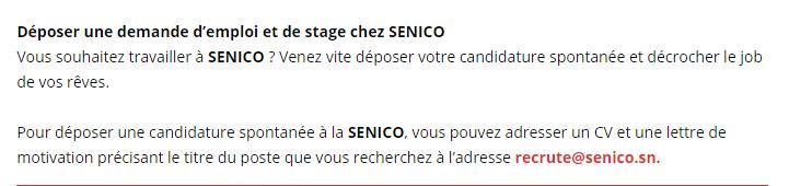 Deposer une demande d'emploi et de Stage chez SENICO ...