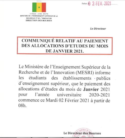 Communiqué: Paiement Des Bourses Du Mois De Janvier 2021