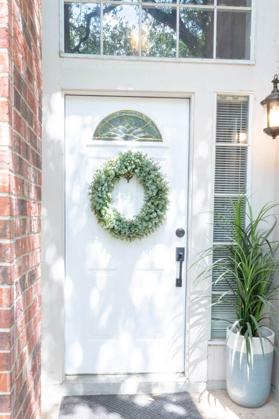 DIY | Brick House | Ideas | With Beige Siding | Paint Front Door | Perfect Front Door Color | Entrance | Entryway | Colour | Curb Appeal | White Trim | House
