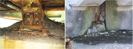 Fig. 2 and 3. Corrosion, Deterioration and Sediment Buildup Under Leaking Joints