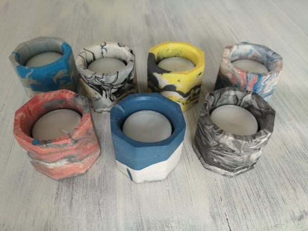 Custom marbled jesmonite pots photo 1 tealights