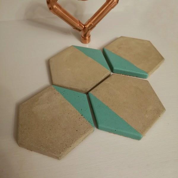 Green and Grey Hexagonal Coasters photo 2