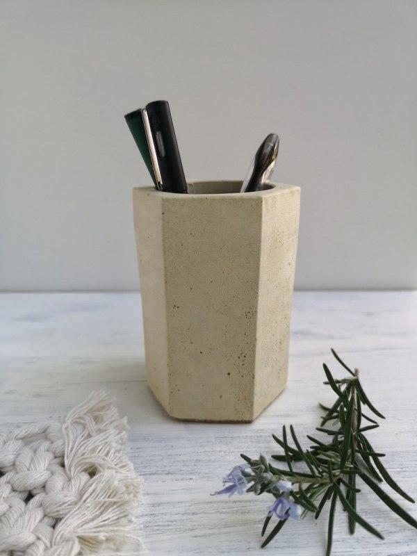 Hexagonal Concrete Vase photo 1