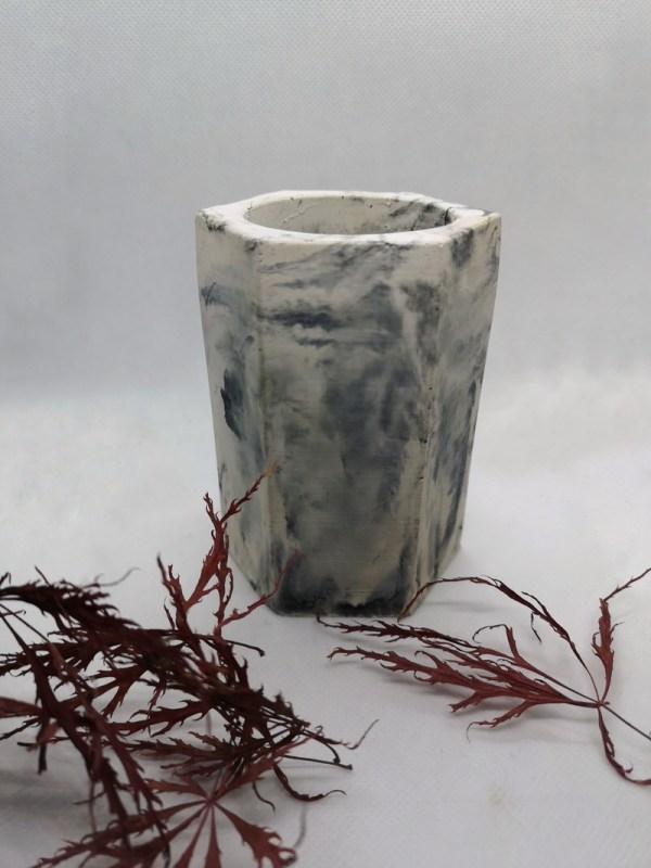 Marbled Hexagonal Vase photo 1